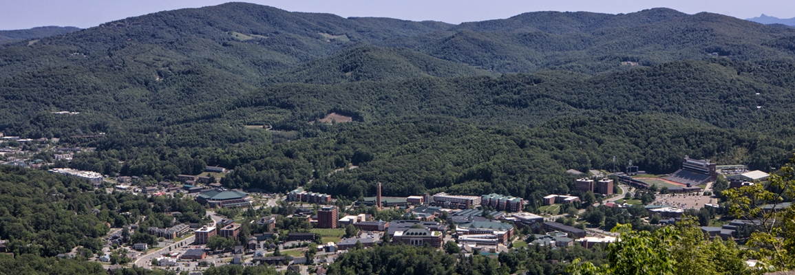 Appalachian State University's campus nestled in the scenic western NC mountains